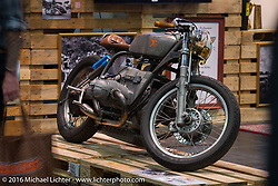 Sultans of Sprint custom sprint racer display in Hall 10 with its all custom focus at the Intermot Motorcycle Trade Fair. Cologne, Germany. Thursday October 6, 2016. Photography ©2016 Michael Lichter.