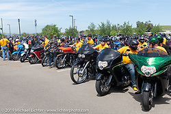 Hamsters line up at the Arlen Ness Memorial - Celebration of Life for the ride from the church to the shop. Dublin, CA, USA. Saturday, April 27, 2019. Photography ©2019 Michael Lichter.