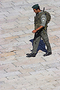 Israel, jerusalem Old City Jewish quarters Israeli border police soldier on patrol