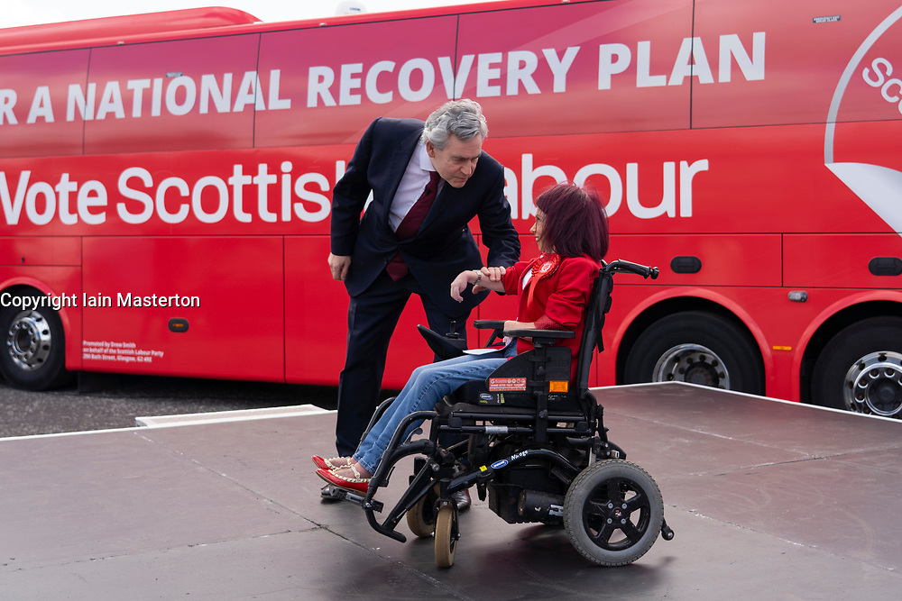Glasgow, Scotland, UK. 5 May 2021. Scottish Labour Leader Anas Sarwar and former Prime Minister Gordon Brown appear at an eve of polls drive-in campaign rally in Glasgow today. Gordon Brown greets Labour candidate Pam Duncan-Glancy.  Iain Masterton/Alamy Live News