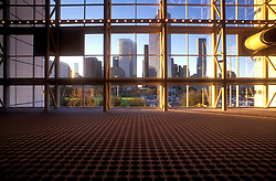 Houston, Texas skyline as seen from inside the George R. Brown Convention Center.