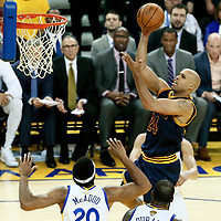 01 June 2017: Cleveland Cavaliers forward Richard Jefferson (24) goes for the jump shot during the Golden State Warriors 113-90 victory over the Cleveland Cavaliers, in game 1 of the 2017 NBA Finals, at the Oracle Arena, Oakland, California, USA.