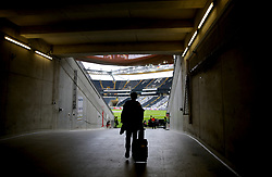 A general view of a photographer making their way pitch side ahead of the UEFA Europa League Semi final, first leg match at The Frankfurt Stadion, Frankfurt.