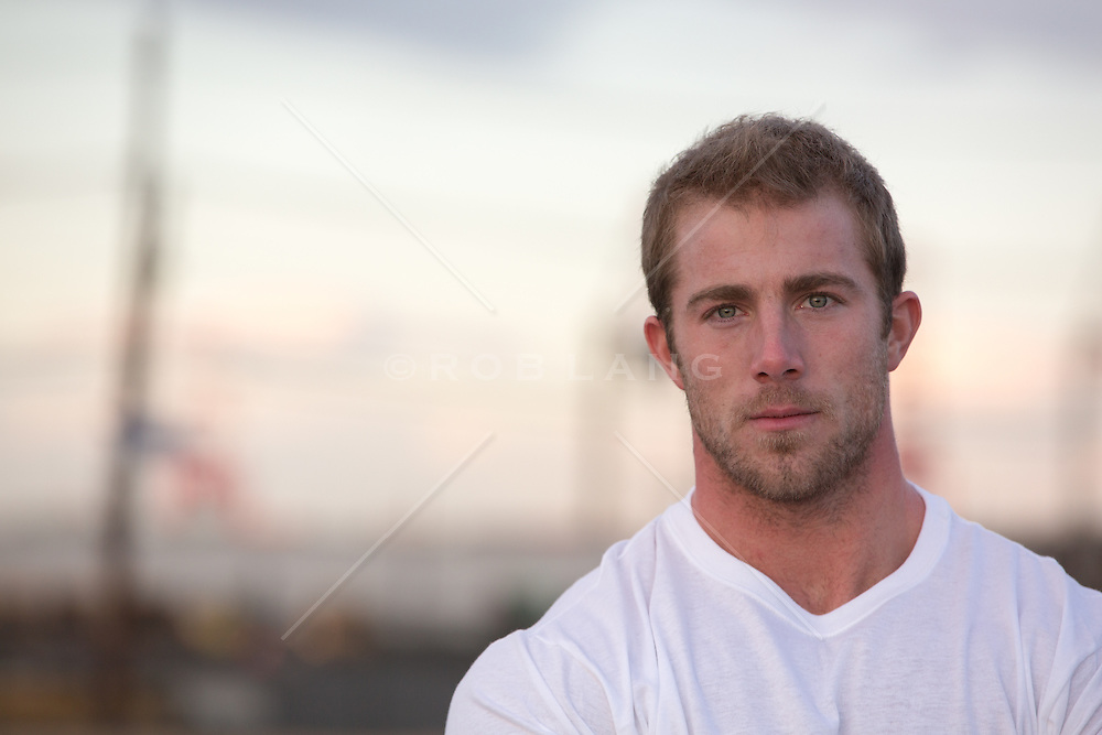 portrait of an All American man in a v neck tee shirt