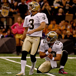 October 3, 2010; New Orleans, LA, USA; New Orleans Saints place kicker John Carney (3) kicks a field goal against the Carolina Panthers during the second half at the Louisiana Superdome. The Saints defeated the Panthers 16-14. Mandatory Credit: Derick E. Hingle