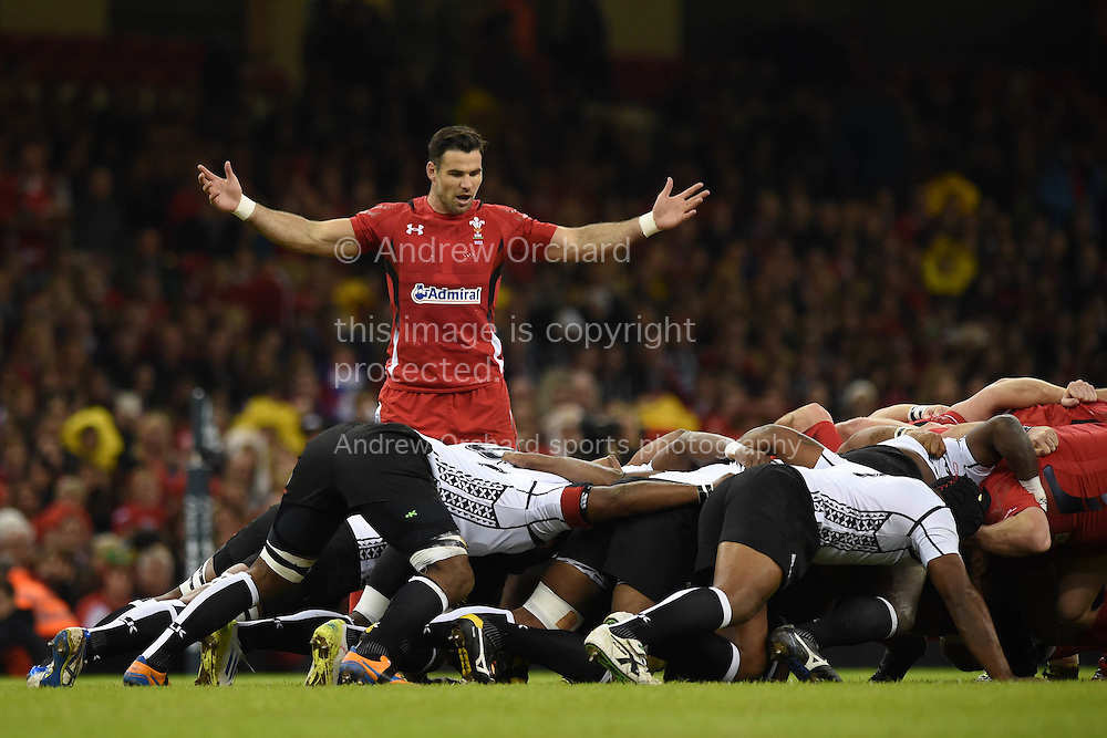 Mike Phillips of Wales looks on. Dove Men series 2014, autumn international rugby, Wales v Fiji at the Millennium Stadium in Cardiff, South Wales on Saturday 15th November 2014.<br /> pic by Andrew Orchard, Andrew Orchard sports photography.