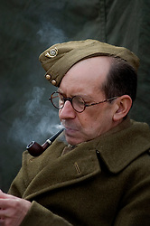 A Reenactor from the Northern World War Two Association portrays a member of the British Home Guard on a Living History display during the Elsecar 1940s Wartime Weekend Event near Barnsley 2009  Copyright Paul David Drabble