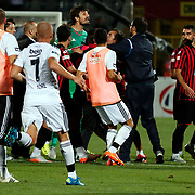Besiktas's Gokhan Tore (L) and goalkeeper Tolga Zengin (C) during their Turkish Super League soccer match Genclerbirligi between Besiktas at the 19 Mayis stadium in Ankara Turkey on Monday, 21 September 2015. Photo by Kurtulus YILMAZ/TURKPIX