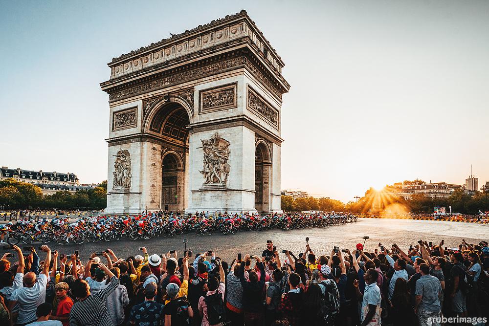 The Arc de Triomphe at sunset. 2019 Tour de France.