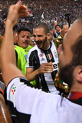 Celebrations after Juventus win over Lazio at the Italian Football Cup Final at Stadio Olimpico in Rome. 17 May 2017 Pictured: Gonzalo Higuain, Leonardo Bonucci. Photo credit: Insidefoto / MEGA TheMegaAgency.com +1 888 505 6342