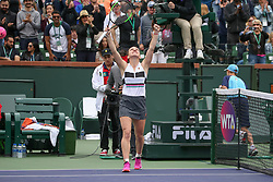 March 10, 2019 - Indian Wells, CA, U.S. - INDIAN WELLS, CA - MARCH 10: Simona Halep (ROU) celebrates after a win during the BNP Paribas Open on March 10, 2019 at Indian Wells Tennis Garden in Indian Wells, CA. (Photo by George Walker/Icon Sportswire) (Credit Image: © George Walker/Icon SMI via ZUMA Press)