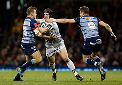 Ospreys' Dan Evans under pressure from Cardiff Blues' Garyn Smith and Lloyd Williams<br /> <br /> Photographer Simon King/Replay Images<br /> <br /> Guinness PRO14 Round 21 - Cardiff Blues v Ospreys - Saturday 28th April 2018 - Principality Stadium - Cardiff<br /> <br /> World Copyright © Replay Images . All rights reserved. info@replayimages.co.uk - http://replayimages.co.uk