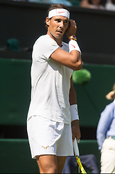 © Licensed to London News Pictures. 03/07/2018. London, UK.  Rafael Nadal of Spain plays Dudi Sela of Israel in the mens singles 1st round draw of the Wimbledon Tennis Championships 2018, Day 2. Photo credit: Ray Tang/LNP. Photo credit: Ray Tang/LNP