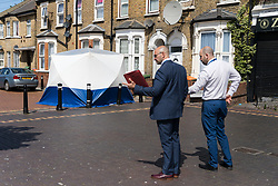 © Licensed to London News Pictures. 30/06/2019. London, UK. The scene on Ron Leighton Way in Newham where police were called last night to reports of a stabbing. The victim, A man believed to be in his late 20s, was pronounced dead at the scene. Photo credit: Vickie Flores/LNP
