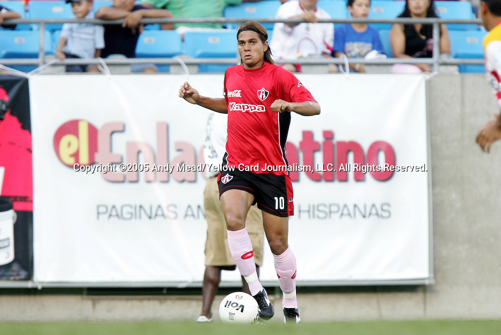 Danilo Vergue of Atlas on Sunday, July 17, 2005, at Bank of America Stadium in Charlotte, North Carolina. U.A.G. Tecos defeated Atlas (both of the Mexican soccer league) 1-0 in a preseason game.