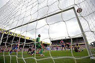 Damien Delaney of Crystal Palace (on ground) watches as he deflects an Alexis Sanchez header into his own net to score an own goal to make it 1-2 to Arsenal. . Barclays Premier league match, Crystal Palace v Arsenal at  Selhurst Park in London on Sunday 16th August 2015.<br /> pic by John Patrick Fletcher, Andrew Orchard sports photography.