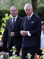 The Prince of Wales leaves the Aberfan Memorial Garden in Wales, during a visit to the village on the 50th anniversary of the Aberfan disaster.