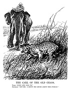 "The Call of the Old Chaos. Tiger. ""Come and join us."" Elephant. ""Not me. I know too much about the jungle!"" (an InterWar cartoon showing a tiger of Revolution trying to pursade the Indian elephant to come off its path)"