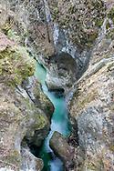 View down into the canyon of the River Mostnica from the Devil's Bridge (Hudičev most), near Stara Fužina. Juliana Trail, Bohinj, Triglav National Park, Slovenia © Rudolf Abraham
