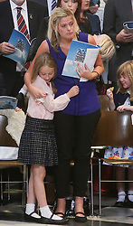Wife Jen and daughter Abigail of fallen police officer Dave Phillips who was killed by a teenager car thief in Wirral, Merseyside in October 2015 attending the service to commemorate National Police Memorial Day at St. Paul's cathedral in central London.