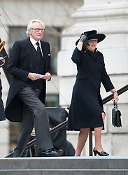 © London News Pictures.17/04/2013. London, UK.  Lord Michael Heseltine (left) arriving at St Paul's Cathedral in London for The Funeral of former British Prime Minister, Margaret Thatcher on April 17, 2013. Photo credit : Ben Cawthra/LNP