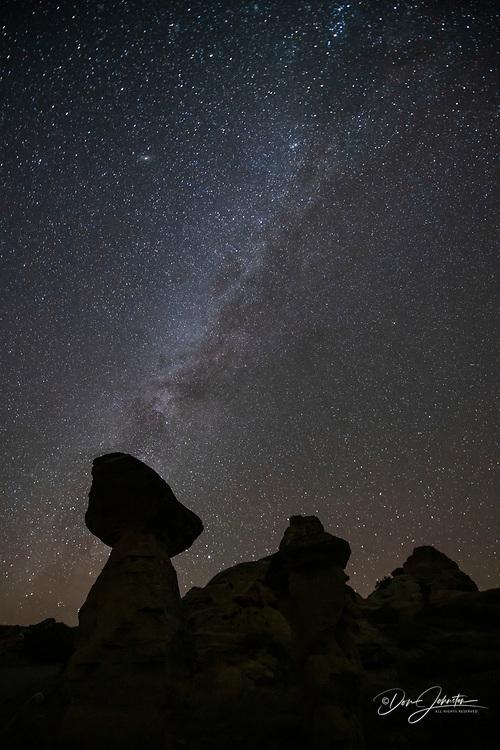 Milky Way over the sandstone hoodoos, Writing on Stone Provincial Park, Alberta, Canada