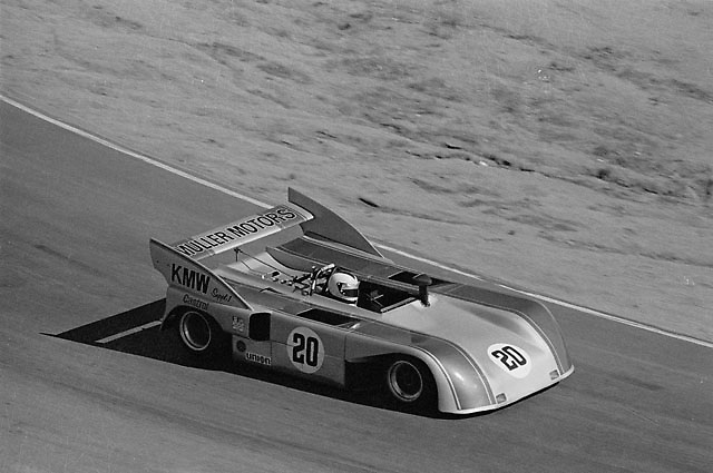 KMW Porsche no. 20 during practice at the 1973 Riverside Can-Am