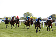 Corinthia Knight ridden by Pierre-Louis Jamin trained by Archie Watson, Motagally ridden by Jim Crowley trained by Charles Hills, Dream Today ridden by Saffie Osborne trained by Jamie Osborne, Amplify ridden by Jason Watson trained by Brian Meehan, Chil Chil ridden by David Probert trained by Andrew Balding, Wild Edric ridden by Richard Kingscote trained by Tom Dascombe, Tin Hat ridden by Georgia Dobie trained by Eve Johnson Houghton, Red Alert ridden by Elisha Whittington trained by Tony Carroll in the Bath.co.uk Handicap - Mandatory by-line: Robbie Stephenson/JMP - 22/07/2020 - HORSE RACING - Bath Racecoure - Bath, England - Bath Races