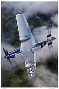 P-51D in acrobatic flight, aerial