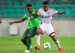 Julius Wobay of NK Olimpija vs Kingsley Madu of AS Trencin during 1st Leg football match between NK Olimpija Ljubljana (SLO) and FK AS Trenčin (SVK) in Second Qualifying Round of UEFA Champions League 2016/17, on July 13, 2016 in SRC Stozice, Ljubljana, Slovenia. Photo by Vid Ponikvar / Sportida