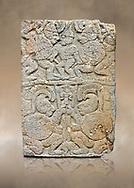 Pictures & images of the North Gate Hittite sculpture stele depicting soldiers. 8the century BC.  Karatepe Aslantas Open-Air Museum (Karatepe-Aslantaş Açık Hava Müzesi), Osmaniye Province, Turkey. Against art background