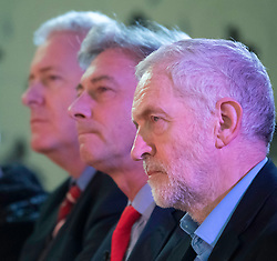 Labour Leader Jeremy Corbyn gives speech at the Shottstown Miners Welfare Hall, Penicuik, Midlothian at the start of a tour of Scotland. L-R Ian Lavery, Ian Leonard, Jeremy Corbyn