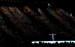 Solli Raphael performs a poem during the Closing Ceremony for the 2018 Commonwealth Games at the Carrara Stadium in the Gold Coast, Australia.