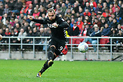 Pierre-Michel Lasogga (9) of Leeds United shoots at goal during the EFL Sky Bet Championship match between Bristol City and Leeds United at Ashton Gate, Bristol, England on 21 October 2017. Photo by Graham Hunt.