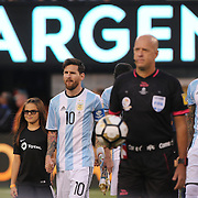 EAST RUTHERFORD, NEW JERSEY - JUNE 26: Lionel Messi #10 of Argentina leads his side out  during the Argentina Vs Chile Final match of the Copa America Centenario USA 2016 Tournament at MetLife Stadium on June 26, 2016 in East Rutherford, New Jersey. (Photo by Tim Clayton/Corbis via Getty Images)