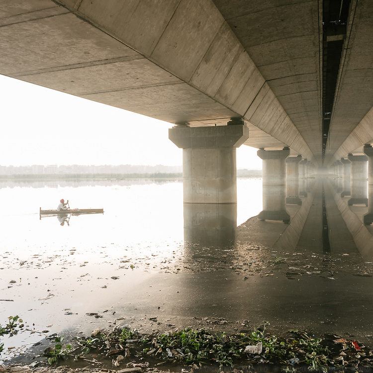 Fractured Water - with my scooter, following the holy Yamuna river in Delhi, India. Work in progress.