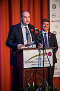 Sponsor Davidson Chalmers LLP, announcing the winners of the Manufacturer of the Year award:Giacopazzi's Wholesale Ice Cream, Eyemouth.<br /> <br /> The 2015 Scottish Border Business Awards, held at Springwood Hall, Kelso. The awards were run by the Scottish Borders Chambers of Commerce, with guest speaker Keith Brown, MSP. The SBCC chairman Jack Clark and the presenter Fiona Armstrong co hosted the event.