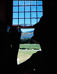 Woman tasting wine at the vineyard with view outside window in background (Credit Image: © Axiom/ZUMApress.com)