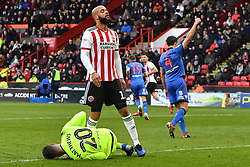 Sheffield United's David McGoldrick reacts as his shot on goal is saved by Bolton Wanderers goalkeeper Remi Matthews
