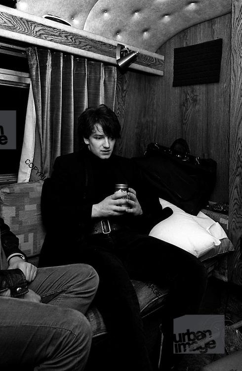 Photograph of U2 - Bono on the tour bus  - USA tour 1981 Chicago  USA