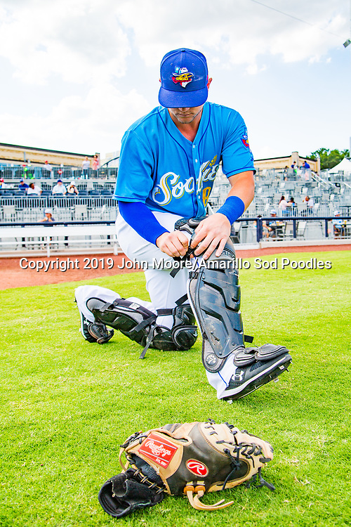 Amarillo Sod Poodles catcher A.J. Kennedy (8) before the game against the Northwest Arkansas Travelers on Sunday, July 21, 2019, at HODGETOWN in Amarillo, Texas. [Photo by John Moore/Amarillo Sod Poodles]