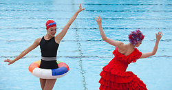 © Licensed to London News Pictures. 05/07/2012. London, England. Secrets: Hidden London. Like a Fish Out of Water, a part of Secrets, presents and inspired new concept developed by Seven Sisters Group that blends site-specific performance and handheld video technology at Uxbridge Lido and Hampton Pool. Presented by English National Ballet with Seven Sisters group produced by Zap Art. London 2012 Festival. Photo credit: Bettina Strenske/LNP