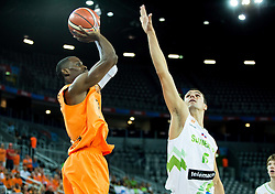Charlon Kloof of Netherlands vs Jure Balazic of Slovenia during basketball match between Slovenia vs Netherlands at Day 4 in Group C of FIBA Europe Eurobasket 2015, on September 8, 2015, in Arena Zagreb, Croatia. Photo by Vid Ponikvar / Sportida