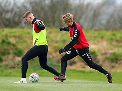 Alfie Mawson and Sam Bell of Bristol City during a training session ahead of the FA Cup game with Portsmouth - Rogan/JMP - 07/01/2021 - Failand - Bristol, England.
