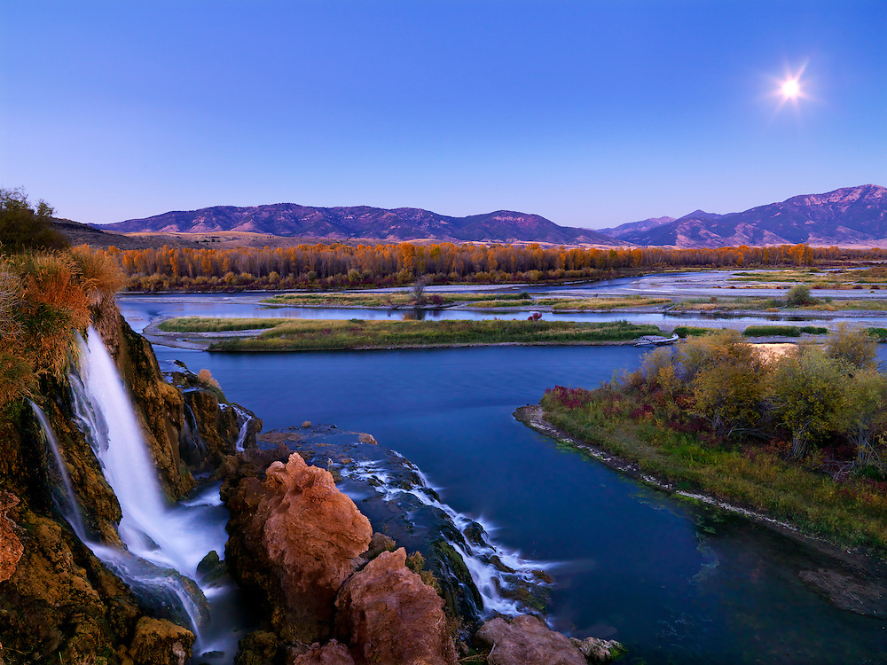 Limited Edition Print of 17<br /> South Fork Moonrise with Fall Creek in the foreground near Swan Valley in Eastern Idaho.