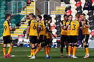 Newport County players huddle before kick off at the EFL Sky Bet League 2 match between Newport County and Tranmere Rovers at Rodney Parade, Newport, Wales on 17 October 2020.
