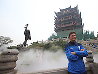 Argentine football star Javier Zanetti poses for photos during his visit to the Yellow Crane Tower ahead of the 2014 China-Italy The Football Legends Challenge Match in Wuhan city, central China's Hubei province, 17 October 2014.<br /> <br /> Javier Zanetti led Inter Milan legends to visit the Yellow Crane Tower in Wuhan city, central Chinas Hubei province, on Friday (17 October 2014). The 2014 China-Italy The Football Legends Challenge Match will kick off on Sunday.