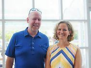 Garden City, New York, U.S. July 20, 2019. R-L, Nassau County Executive LAURA CURRAN and her husband JOHN CURRAN are at the Moon Fest Apollo at 50 Countdown Celebration at Cradle of Aviation Museum in Long Island. County Executive Curran later started the countdown for the exact time Apollo 11 Lunar Module landed on the Moon 50 years ago.
