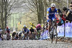 March 25, 2018 - Wevelgem, BELGIUM - Belgian Philippe Gilbert of Quick-Step Floors pictured in action on the cobblestones of the Kemmelberg during the 80th edition of the Gent-Wevelgem cycling race, 251,1 km from Deinze, near Gent, to Wevelgem, Sunday 25 March 2018...BELGA PHOTO DIRK WAEM (Credit Image: © Dirk Waem/Belga via ZUMA Press)