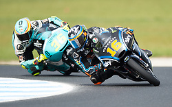 October 21, 2017 - Melbourne, Victoria, Australia - Italian rider Andrea Migno (#16) of Sky Racing Team VR46 and Spanish rider Joan Mir (#36) of Leopard Racing in action during the third free practice session at the 2017 Australian MotoGP at Phillip Island, Australia. (Credit Image: © Theo Karanikos via ZUMA Wire)
